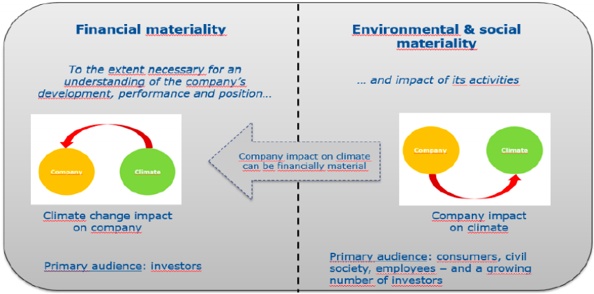 Financial materiality against Environmental & social materiality